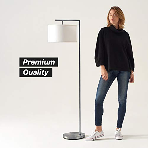 Brightech Montage Modern - Floor Lamp for Living Room Lighting - Bedroom & Nursery Standing Accent Lamp - Mid Century, 5' Tall Pole Light Overhangs Reading with LED Bulb - Satin Nickel