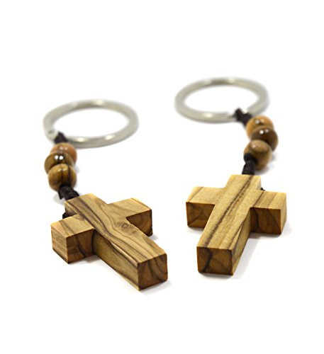 Two (2) Authentic Olive Wood Cross Keychains with Three Rosary Beads for Faith Hope & Charity (Ring Three Bead)