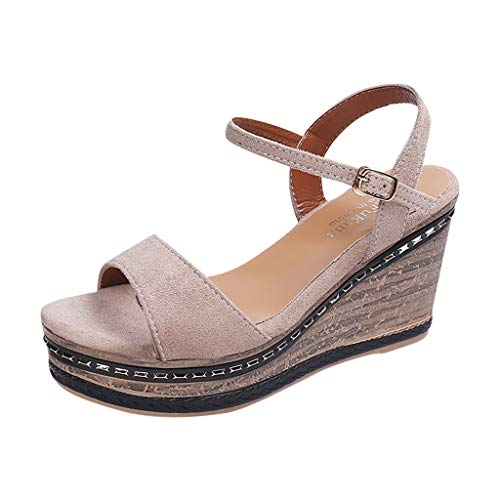 - Wedges Sandals for Women, Huazi2 Open Toe Suede High Heel Sandals Buckle Strap Wedge Shoes