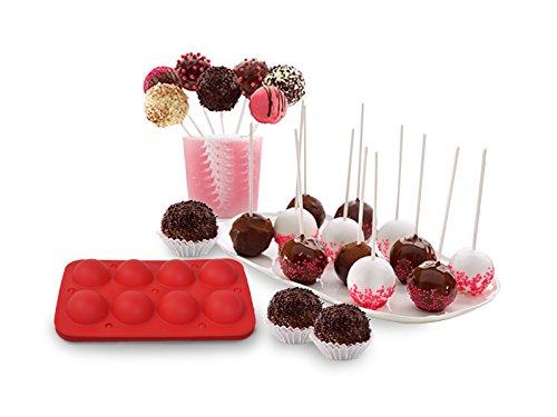 NEW 8 Cup Tasty Top Cake Pops Silicone Baking Pop Guide Flex Pan Mold Tray Decorate ()