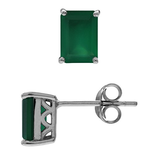 1.9ct. Natural Emerald Green Agate 925 Sterling Silver Stud/Post - Natural Ct 1.9