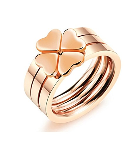 [Bishilin Stainless Steel Rose Gold Plated Heart Flower Women Wedding Ring 3 Piece Sets Size 5] (King Triton Costume For Kids)