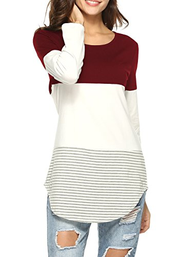 l Color Block Blouses Shirt Long Sleeve Tunic Tops with Striped Hem Wine Red/S ()