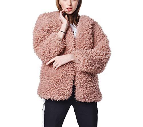 Cappotto Maniche A Caldo E Donna Lunghe Invernale Soffice Cappotto Pink Da XXXL Autunno Huaishu aBFwqvgA