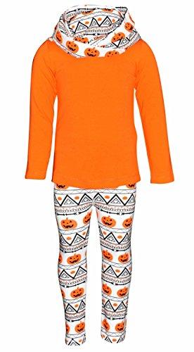 Unique Baby Girls 3 Piece Halloween Pumpkin Pattern Legging Set (2t) -
