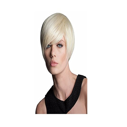 Longlove Fashion Natural Silver White Short Bob Human Wig WithTilted Frisette for Women (70s Themed Costumes)
