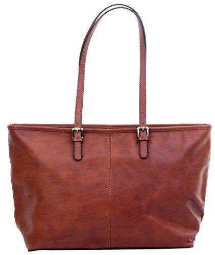 Lusso Ladies in pelle italiana lungo regolabile gestito Tote grande Grab Bag o borsa a tracolla.Fornita nella pratica custodia protettiva marca Mid Brown