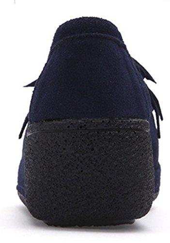 Femmes de Compensée Chaussures Daim Basse Tennis Marche Frange Baskets wealsex Plateau Plateforme Sneakers A0XB0