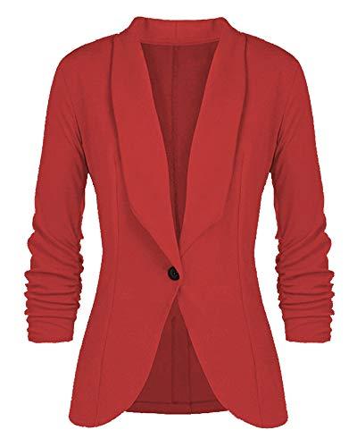 Manga Rojo Otoño Blusa Cardigan Traje Mujer Para Color Top Abrigo Outwear Slim Larga Chaqueta Fit Blazers De Sólido Negocios Invierno xHXgwqf