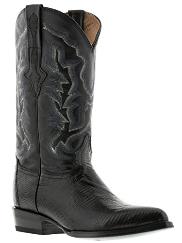 El Presidente - Men's Black Genuine Lizard Skin Leather Cowboy Boots J Toe 12 ()