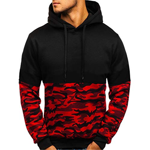 - Men's Hooded Sweatshirt,AmyDong Long Sleeve Pullover Camouflage Print Splice Button Sweater Blouse Tops