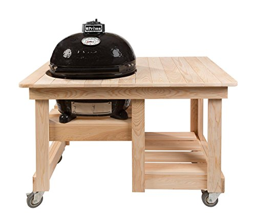 Primo Oval JR 200 Ceramic Smoker Grill On Cypress Counter Top Table by Primo