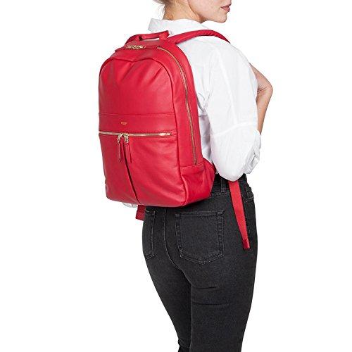 Knomo 120-401-CHL Mayfair Luxe Beaux, edler Damen-Rucksack aus Leder mit einer Vielzahl von Fächern und Einschubtasche für 14 Zoll Notebooks | Chili Rot