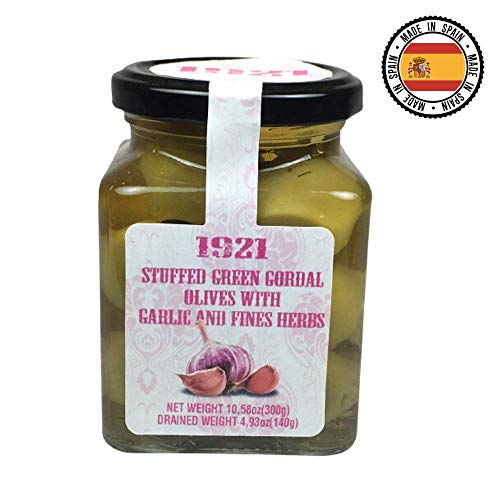 Spanish Stuffed Gordal Olives With Garlic and Fine Herbs 10.58oz | Perfect for martinis, salads, tapenade and more | Gourmet Stuffed Olives Imported | Premium Class 80/100 Spanish Olives