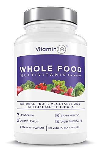 VitaminIQ Multivitamin for Women, Whole Food Vitamin, Antioxidant Rich Supplement for Essential Nutrients, Natural Calcium, Magnesium, Selenium, Vitamin A, B6, C, D3, E, K, 120 Vegetarian Capsules ()