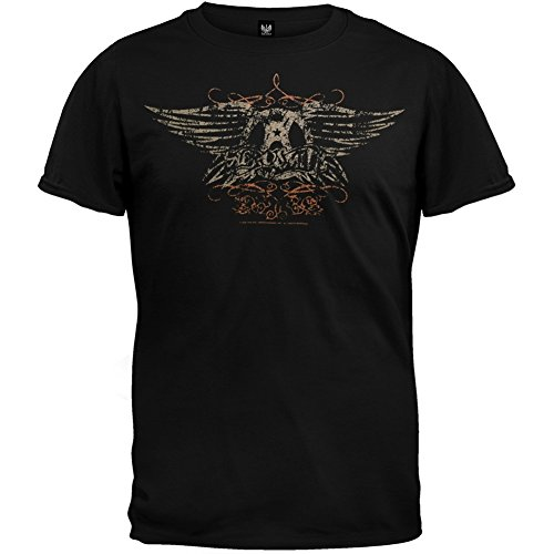 Aerosmith - Mens Faded Wings T-Shirt - Large Black (Aerosmith Wings)