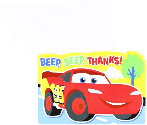 Amscan Zooming Disney Cars 1st Birthday Party Postcard Thank You Cards, Multi, Paper, 4 x 6 Pack of 8 Childrens, Multicolor, 4 1/4