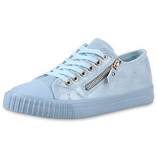Hellblau napoli Zip Zapatillas fashion Mujer n1qw6vqZ