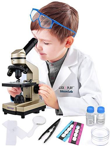 Click N' Play Expansive Kids Educational STEM Science Lab Microscope Set with Over 52 Tools and Accessories, Includes Scientist Lab Gear Role Play Set, White Lab Coat and Goggles. from Click N' Play