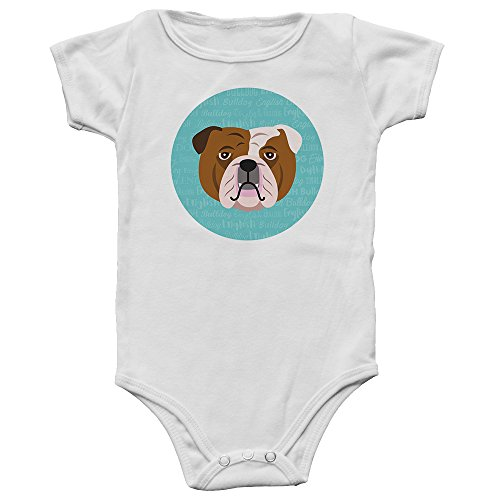 Mystic Sloth Adorable Dog Breed Specific Baby/Toddler Bodysuit (English Bulldog, 18 Months)