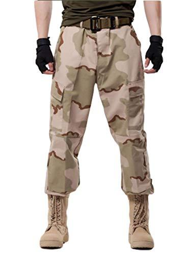 (ZLSLZ Men's Military Tactical Casual Camouflage Multi-Pocket BDU Cargo Pants Trousers (M/W32, Sand1))