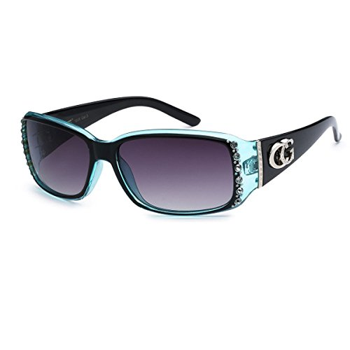 - CG Eyewear Rhinestone Studded Narrow Rectangular Fashion Sunglasses UV Protect (2 Tone - Black & Blue)