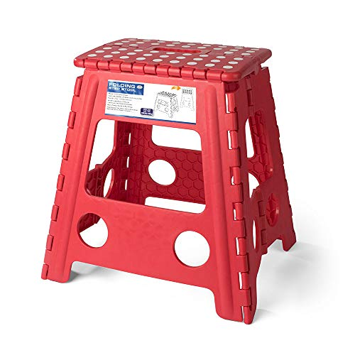 Cheap Acko 16 Inches Super Strong Folding Step Stool for Adults and Kids, Red Kitchen Stepping Stools, Garden Step Stool, holds up to 400 LBS