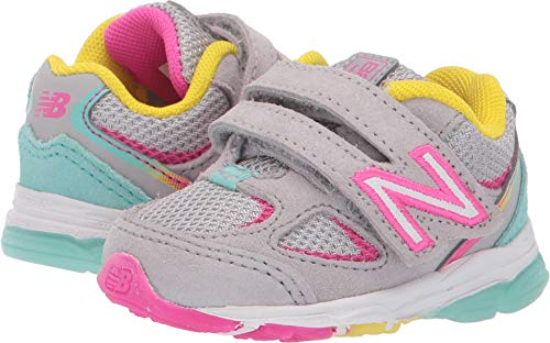 New Balance Girls' 888v2 Hook and Loop Running Shoe, Grey/Rainbow, 9 M US Toddler