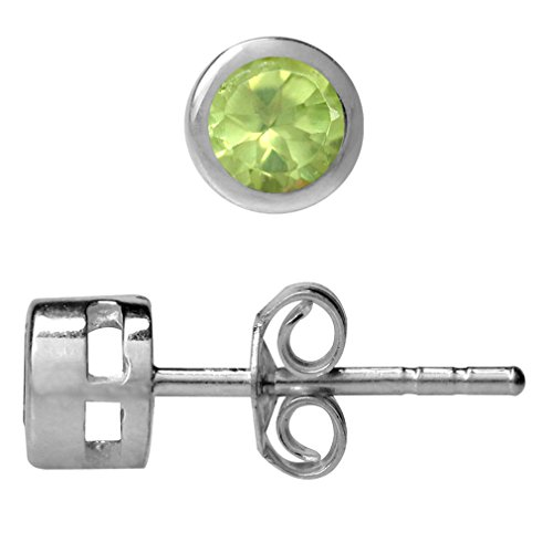 Bezel Peridot Stud Earrings (Petite 4MM Round Peridot Gold Plated 925 Sterling Silver Bezel Set Stud Earrings)