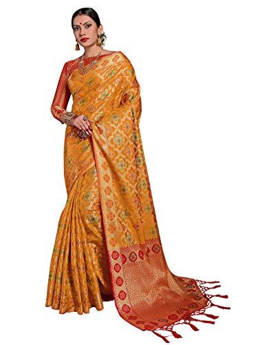 Mustard Saree - Sarees for Women Banarasi Patola Art Silk Woven Saree l Indian Ethnic Wedding Gift Sari with Unstitched Blouse Mustard