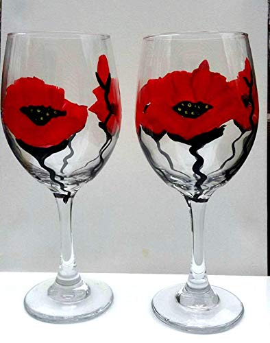 2 Red Poppy Flowers Hand Painted Wine Glasses
