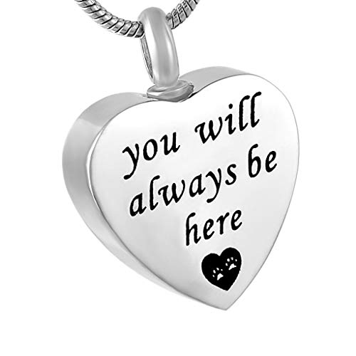 Forever ion My Heart Urn Ash Holder Pets Dog Cat Memorial Cremation Necklace Jewelry Crafting Key Chain Bracelet Pendants Accessories Best| Color - You Will Always Be Here