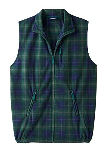 - KingSize Men's Big & Tall Explorer Fleece Zip Vest, Hunter Plaid Tall-4Xl