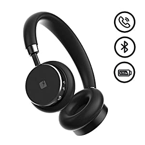VENTURA Leather Wireless Over-Ear Stereo Headphones - Premium Sound Quality - Free Storage Case - Built-in Microphone - Compact Bluetooth Earphones by TRNDlabs