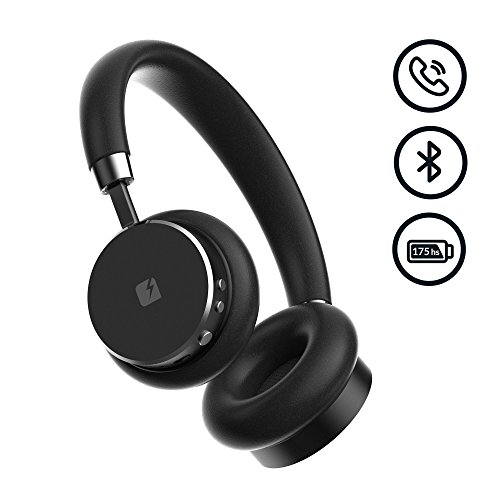 VENTURA Leather Wireless Over-Ear Stereo Headphones - Premium Sound Quality - Free Storage Case - Built-in Microphone - Compact Bluetooth Earphones by - Chat Mens Warehouse Live