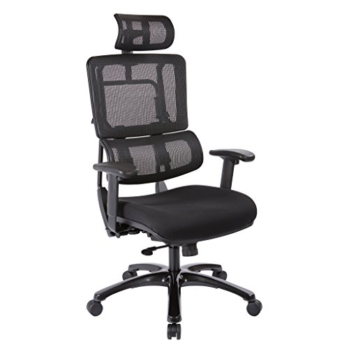 Office Star Breathable Black Vertical Mesh Back and Padded Coal FreeFlex Mesh Seat Managers Chair with Adjustable Arms, Polished Black Accents, and Adjustable Headrest by Office Star