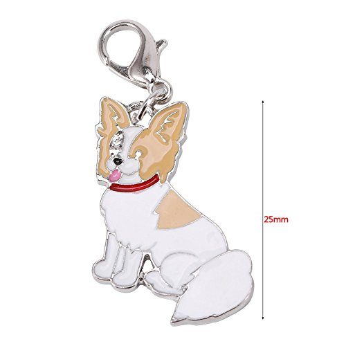 Stock Show 25mm Pet Dogs Collar Charms Necklace Pendant Novelty ID Tag Puppy Dog Pattern Keychain Disc Disk Pet Identification Tags, Papillon (Papillon Charm)