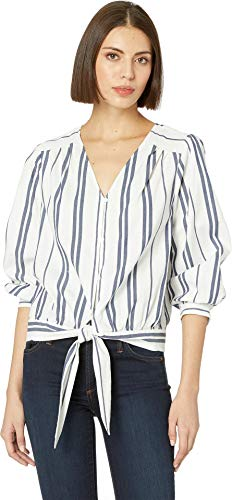 Two by Vince Camuto Women's Long Sleeve Valiant Stripe Button Down Tie Front Blouse Pearl Ivory Medium