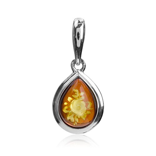 Ian and Valeri Co. Amber Sterling Silver Drop Shaped Cameo Pendant