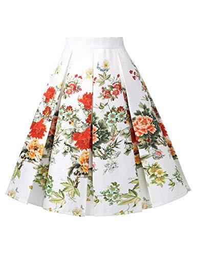 DJT 2 FASHION Plisse Vintage A Jupe Fleur Jupe Line Haute Femme Rtro Rouge Midi Imprime Taille fRSfq