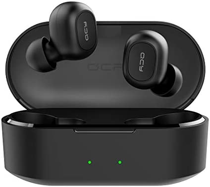 QCY T2C True Wireless Earbuds with Charging Case, TWS 5.0 Bluetooth Headphones, Compatible for iPhone, Android and Other Leading Smartphones, Black