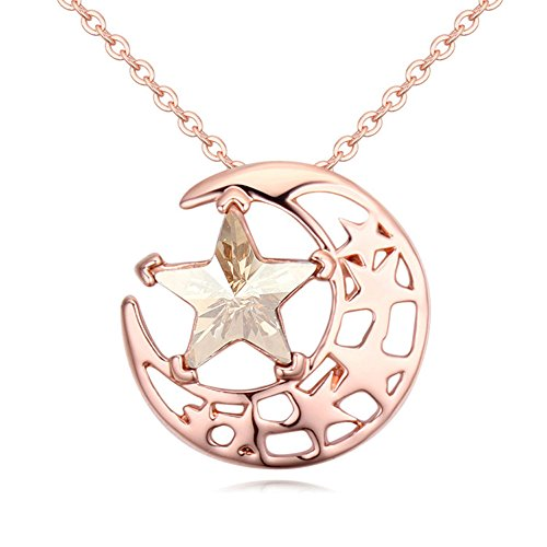 Swarovski Crystal Rocking Flowers (Gorgeous Jewelry Rose Gold Plated Bright Stars and Moon Combination Swarovski Element Crystal Golden Shadow Pendant Necklace)