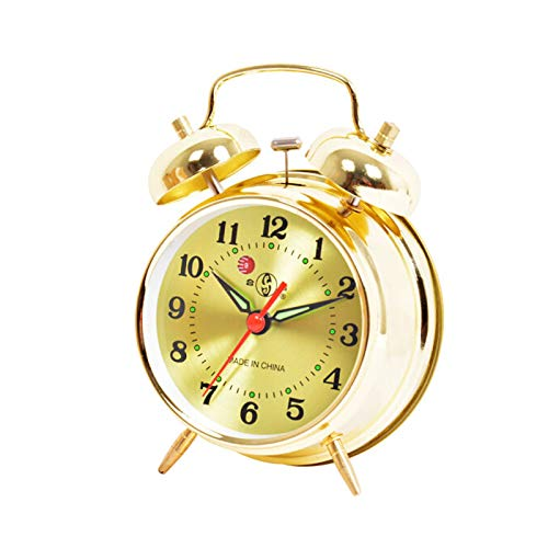Alarm Clock Classic Retro Silent Non Ticking Quartz Twin Bell Alarm Clock Bedside Clock with Night Light and Loud Alarm,Battery Operated (Color : Gold)