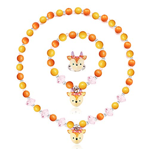 Kid Jewelry Pearl Beaded Rings Necklaces Bracelets Elk Resin Pendants for Girls Little Kids Toddler Cute Best Friend Dress Up Accessories Toy Playset Set Halloween Costume Christmas Birthday Gift ()
