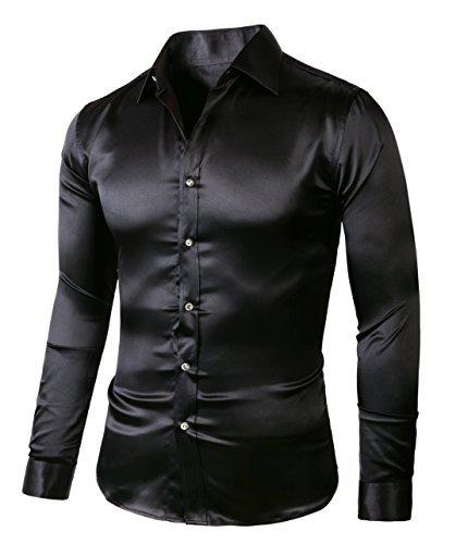 Shiny Black Stripe - SA01200-Regular185 Black ZERDSKY Men's Regular-Fit Satin Shiny Dance Prom Dress Shirt,Large - 17