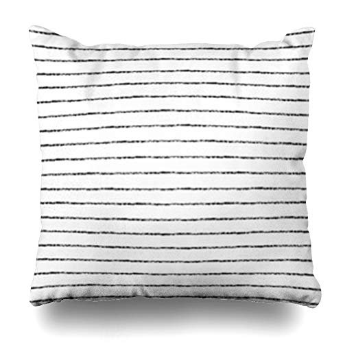 (HomeOutlet Throw Pillow Cover Pinstripe Watercolor Brush Stripes Thin Black On White Ornamentation Striped Monochrome Abstract Pillowcase Square Size 18 x 18 Inches Home Decor Sofa Cushion Case)