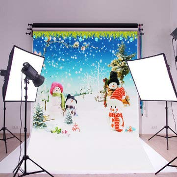 Backgrounds For Photography Christmas - Cloth Photography Backdrops - Silk Poster Snowman Christmas Tree Flower Photography Background Backdrop (Photo Studio Background)