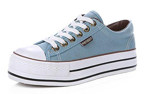 Sfnld Womens Fashion Låg Skurna Snörning Plattform Sneakers Tygskor Ljusblå