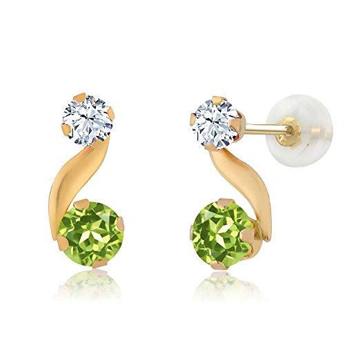 0.82 Ct Round Green Peridot 14K Yellow Gold Earrings