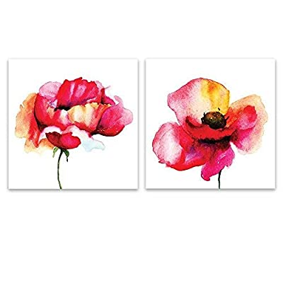 Charming Technique, 2 Panel Square Watercolor Style Red Flowers on White Background x 2 Panels, Made With Love
